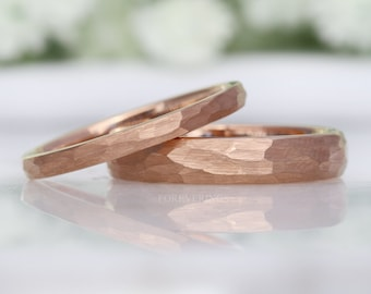 2mm-4mm Tungsten Wedding Band, Rose Gold Plated Ring, Hammered, Dome, Brushed Matte, Men Women Ring, Comfort Fit, Simple Unique Ring