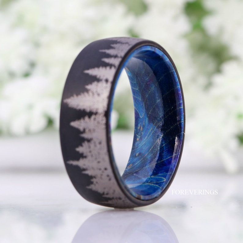 Nature Landscape Ring Black Forest Trees Band Comfort Fit 8mm-6mm Blue Wood Ring Men Tungsten Wedding Band Elder Wood Brushed Dome