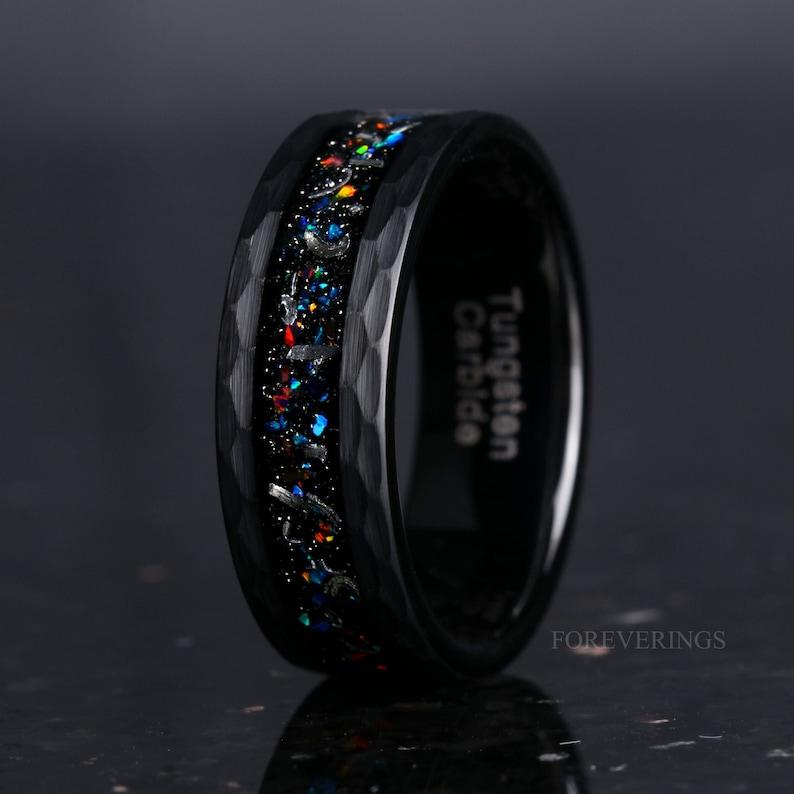 Galaxy Opal and Meteorite Wedding Band 8mm Black Tungsten image 1