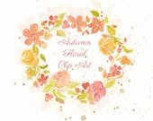 Autumn Floral Clip Art To Download, 3 Bouquets, 8 Elements And 1 Wreath Made With Handpainted Watercolors, Flowers, Fall Colors