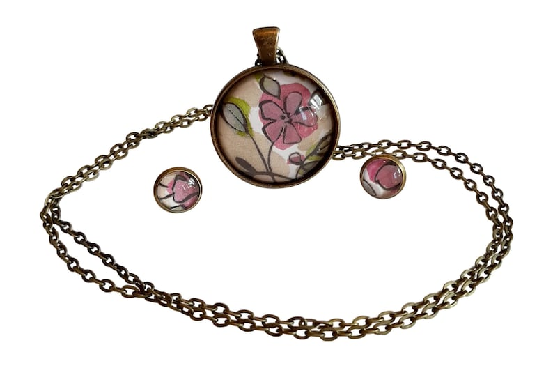 Lilac Flower Pendant Necklace and Matching Earring Set Made in New Zealand