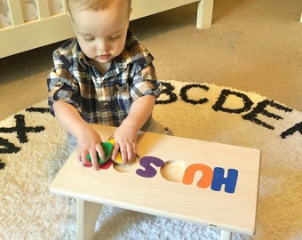 Name Puzzle STOOLS, wooden personalized puzzle, stools with name, gifts for toddlers, baby shower gift, 1st birthday gift