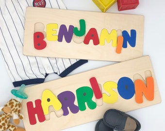 Custom gifts for toddlers, wooden name puzzle, name puzzle, puzzles for children, gifts for toddlers, baby shower gift, 1st birthday gift