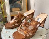 Vintage geometric genuine snakeskin leather women s heels sz 7