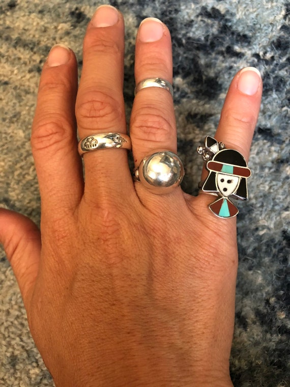 1960's Vintage Snoopy Zuni Inlay Ring sz 4 see me… - image 5