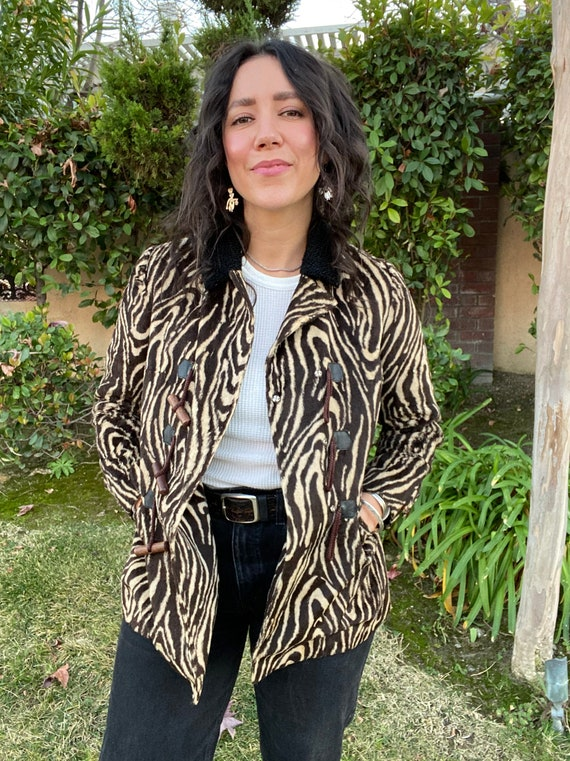 Vintage psychedelic faux fur zebra print jacket