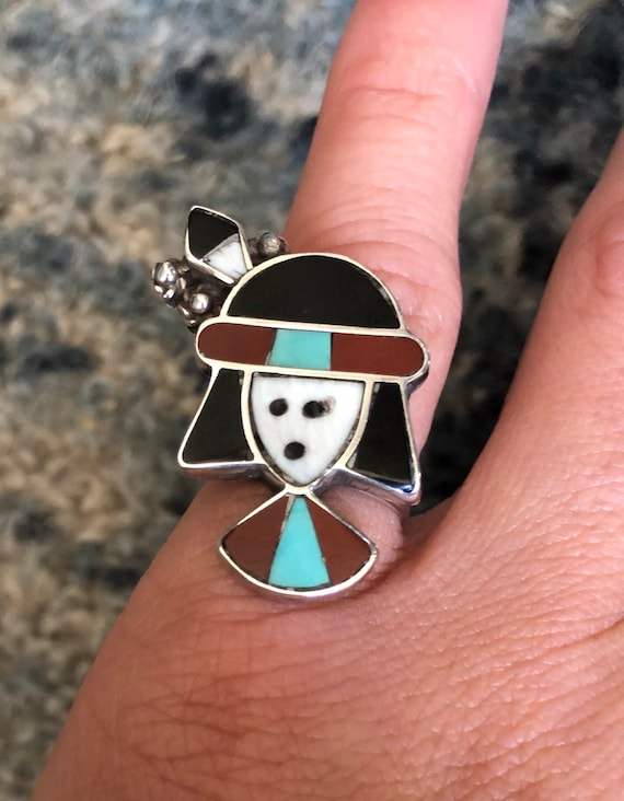 1960's Vintage Snoopy Zuni Inlay Ring sz 4 see me… - image 1