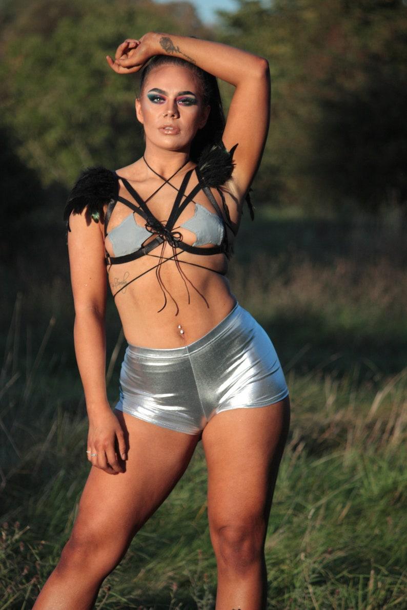 Burning Man Silver Galaxy Hot Pants Festival Clothing Rave Festival Wear