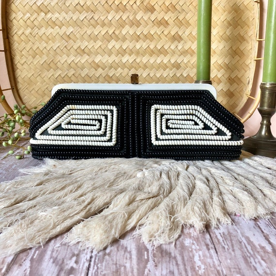 Vintage Telephone Cord Clutch - 1950s Black & Whit