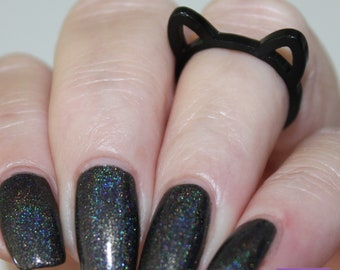 Size 7 -- Black Cat Ring, Cat Ears, Cute cat ear ring, Band ring, limited, gift