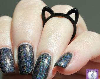 Size 6 -- Black Cat Ring, Cat Ears, Cute cat ear ring, Band ring, limited, gift