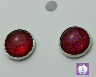 194~ Nail Polish Jewelry, Round, Stud, Stainless Iron, Silver, Earring using Nail Pattern Boldness Nail Polish, gift, jewelry, hand painted