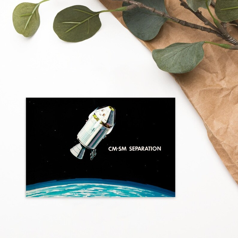 Separation of CSM-LM postcard NASA Apollo Missions Artist Impression