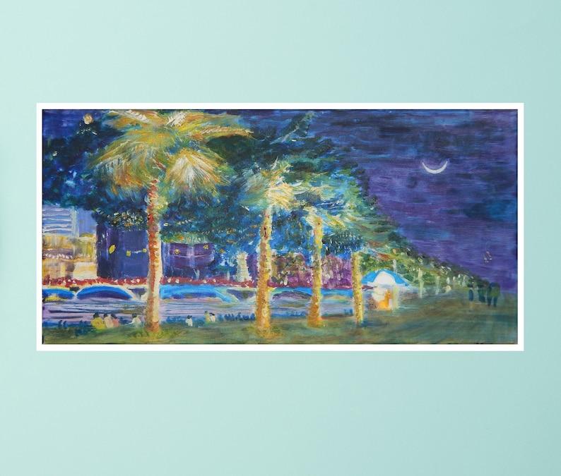Night by the Esplanade  Original Oil Painting Art Print Card image 0