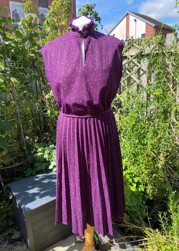 Vintage prairie dress, 1970s, purple with gold dot