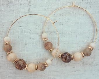 Multi Wooden Bead Hoop Earrings