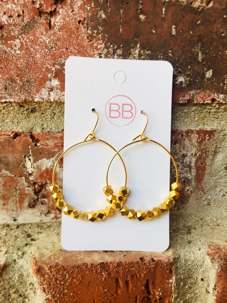 Gold Faceted Beads on Dangle Hoop