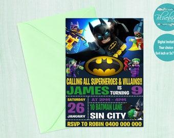 Lego Batman Invitaciones Etsy