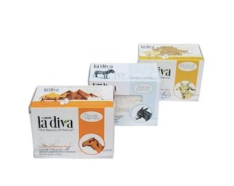Milk Soap Set/ 3 Pieces 155 Gr Solid Soap | Camel Milk, Donkey Milk And Goat Milk