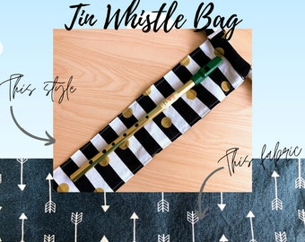 Blue Arrows Print Tin Whistle Gig Bag   Hand Made Fabric Bag Tin Whistle or Irish Whistle   Tin Whistle Case   Elementary Music Teacher Gift