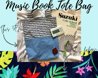 Navy Tropical Music Book Tote Bag   Tote Bag for Music Book   Tote Bag for Music Lessons   Piano Lesson Tote Bag   Voice Lesson Tote Bag