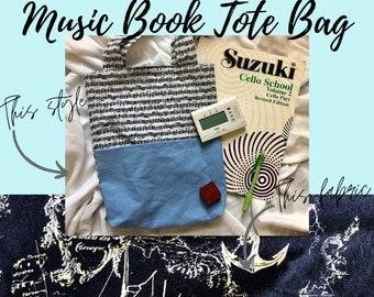 Navy Nautical Music Book Tote Bag   Tote Bag for Music Book   Tote Bag for Music Lessons   Piano Lesson Tote Bag   Voice Lesson Tote Bag