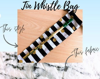 Marble Print Tin Whistle Gig Bag   Hand Made Fabric Bag Tin Whistle or Irish Whistle   Tin Whistle Case   Elementary Music Teacher Gift