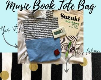 Black White & Gold Music Book Tote Bag   Tote Bag for Music Book   Tote Bag for Music Lesson   Piano Lesson Tote Bag   Voice Lesson Tote Bag