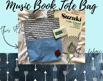 Blue Arrows Music Book Tote Bag   Tote Bag for Music Book   Tote Bag for Music Lessons   Piano Lesson Tote Bag   Voice Lesson Tote Bag