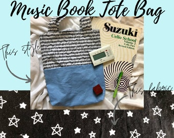 Stars Music Book Tote Bag   Tote Bag for Music Book   Tote Bag for Music Lessons   Piano Lesson Tote Bag   Voice Lesson Tote Bag