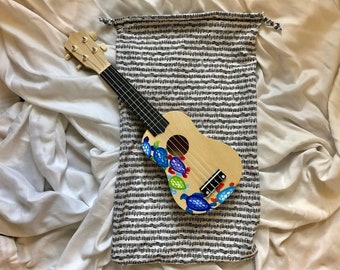 Sheet Music Print Soprano Ukulele Drawstring Bag   Made to Order Ukulele Gig Bag   Fabric Gig Bag for Soprano Ukulele   Musician Gifts