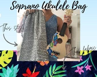 Navy Tropical Soprano Ukulele Drawstring Bag   Made to Order Ukulele Gig Bag   Fabric Gig Bag for Soprano Ukulele