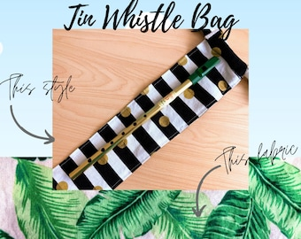 Pink Tropical Tin Whistle Gig Bag   Hand Made Fabric Bag for Tin Whistle or Irish Whistle   Tin Whistle Case   Elementary Music Teacher Gift