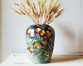 Vintage Chinese vase. Hand painted, turquoise with fruit.