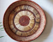 African wall basket, hand woven in Uganda. Tray, gallery wall, or coffee table decor.