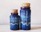Pair of blue pottery canisters. Set of ceramic jars with corks. OA gallery studio pottery.
