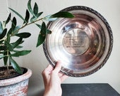 Silver Bowling Trophy Plate. Antique Silverplate Dish. Vintage Bowl. Sports Memorabilia.