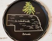 Nebraska state souvenir plate. Tin keepsake tray from NE.  Collectible metal tray.