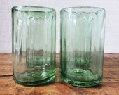 Set of four recycled water glasses, made from vintage green glass bottles. Heavy drinking glasses.