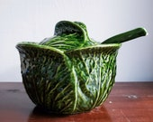 Subtil Portugal Green Cabbage Soup Tureen With Lid and Ladle. Serving Bowl.