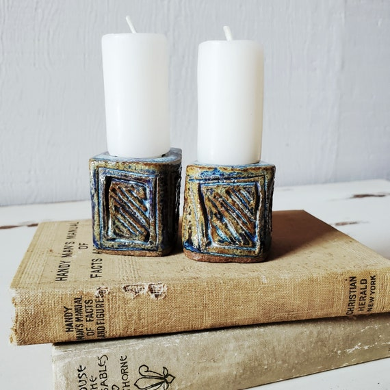 Pair of handmade pottery candlesticks. Taper candle holders. Candlestick holders. Bohemian vibes, eclectic decor!