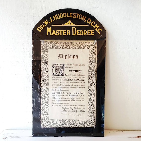 Chiropractor's office sign. Glass encased diploma. Master of Chiropractic, Doctor of Chiropractic Degree. Art Deco!