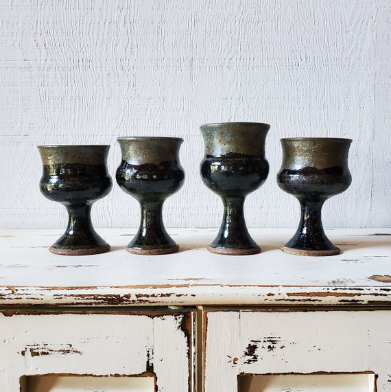 Set of 4 wine glasses. Pottery goblets or chalices. Handmade pottery cups.
