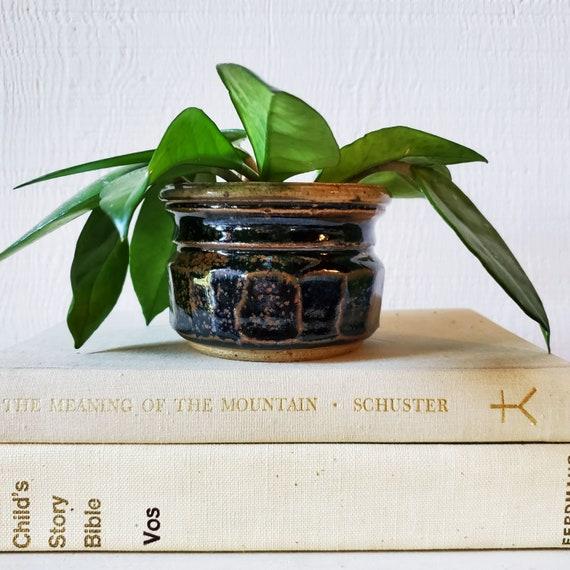Vintage handmade pottery. Black and brown pot. Small planter.