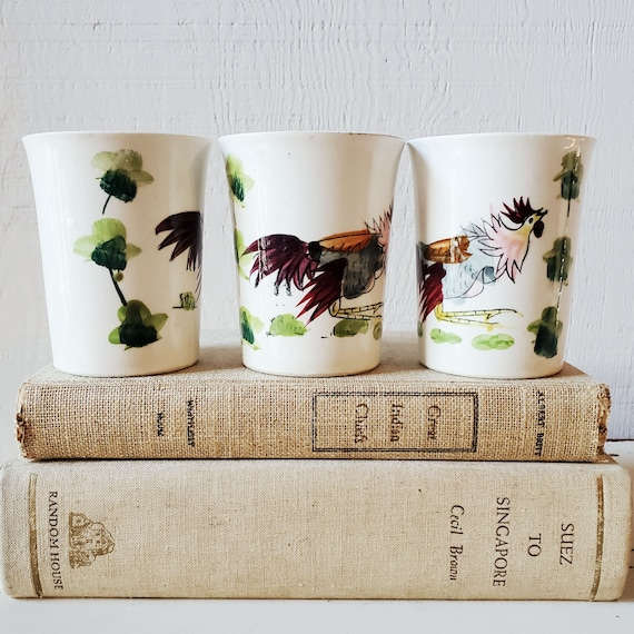 Vintage 1940's Hand-Painted Porcelain Glasses, Japan.