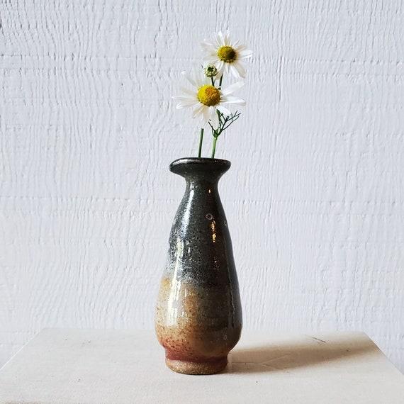 Handmade pottery cruet or bud vase. Tiny hand thrown vase.