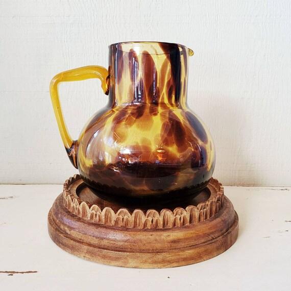 Tortoise shell pitcher, vintage amber pitcher.
