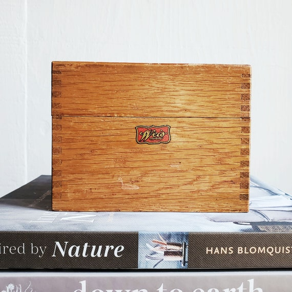 Weis brand vintage recipe box. Dovetailed wooden trinket box.