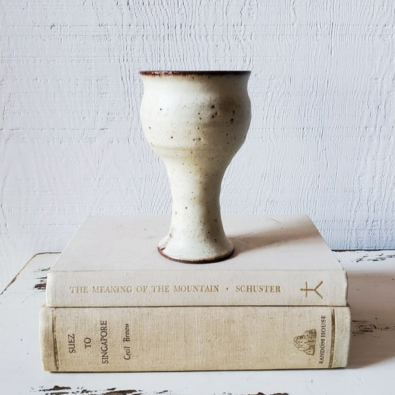 Wine chalice, glass, goblet. Vintage pottery, hand-thrown.
