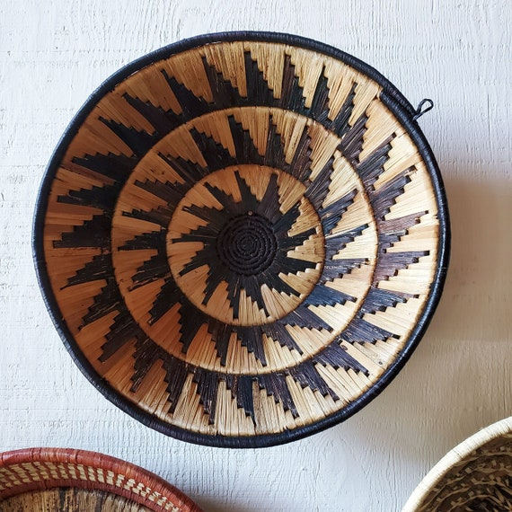 Sunburst hand woven basket, Uganda. Gallery wall art. African basket.